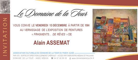Vernissage des peintures d'Alain ASSEMATvendredi 13 décembre à 19h00