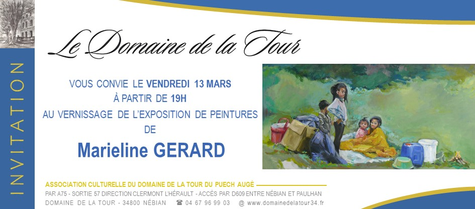Vernissage des tableaux de Marieline Gérard le vendredi 13 mars à 19h
