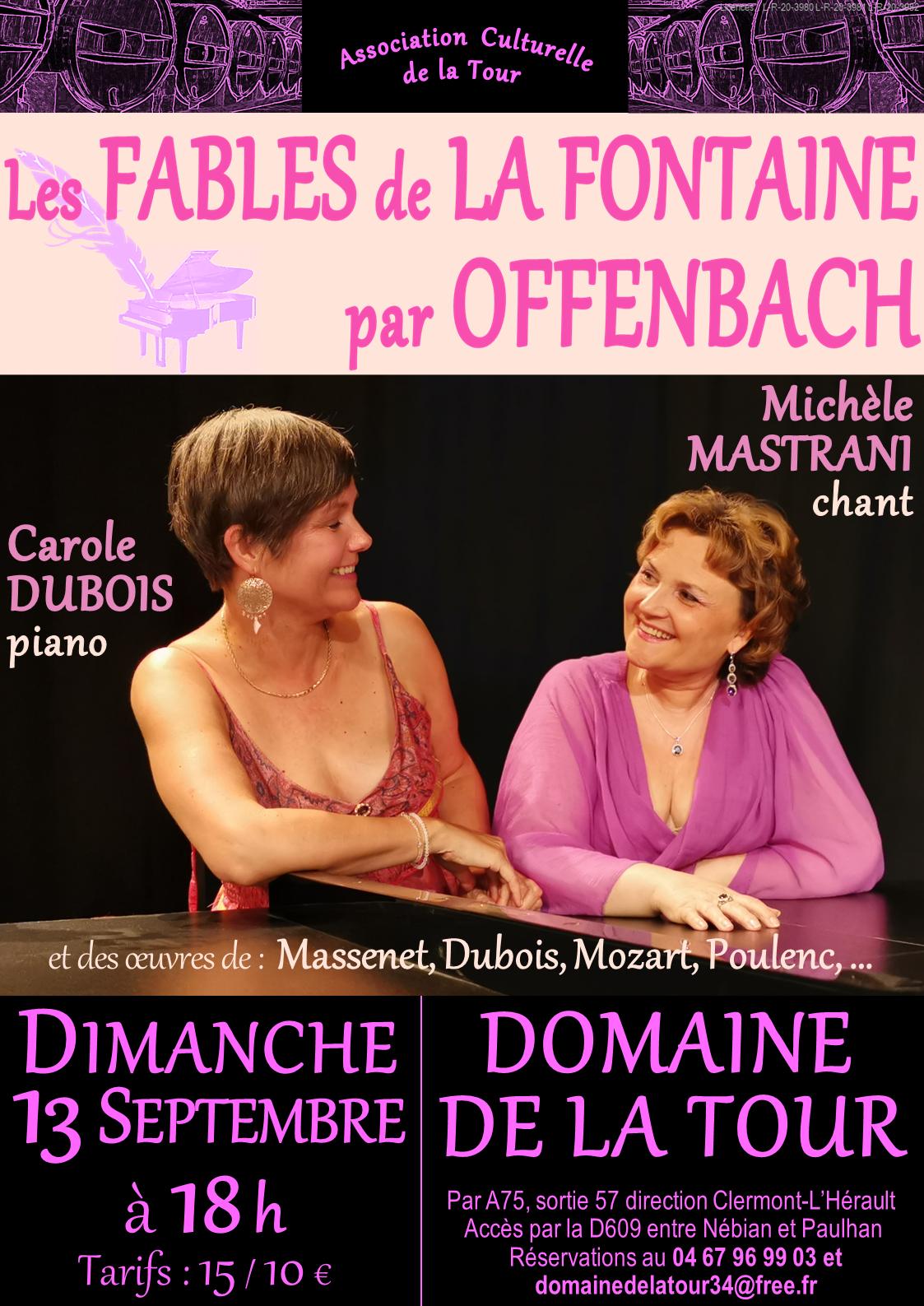 Récital chant-piano, Fables de la Fontaine mises en musique par Offenbach, dimanche 13 septembre à 18h00