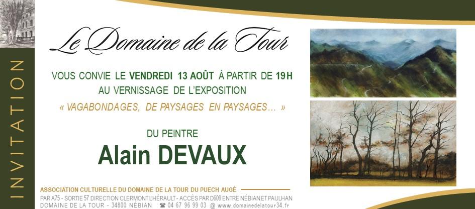 Vernissage le vendredi 13 août 2021 à 19h, Alain Devaux