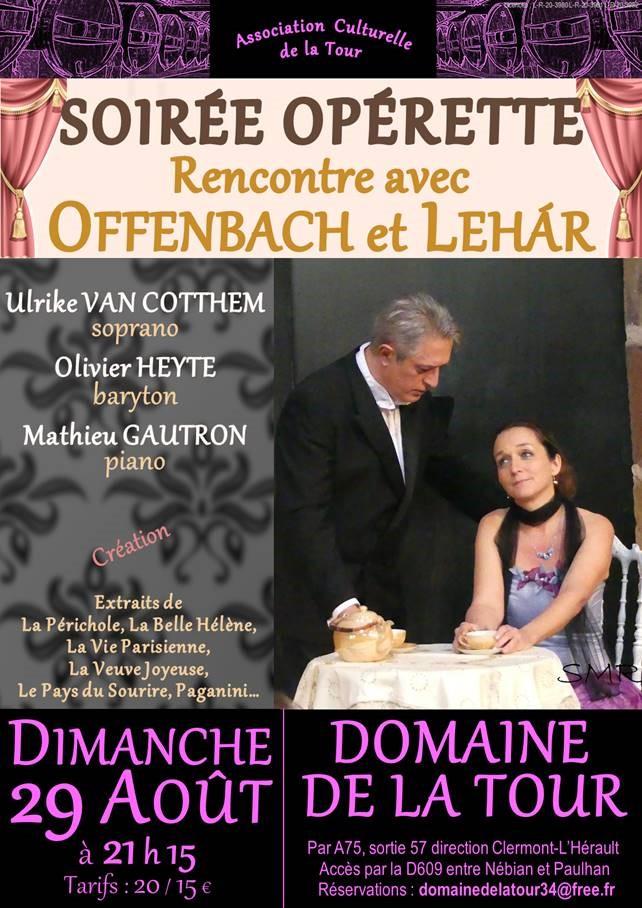 Soirée Opérette au Domaine de la Tour le dimanche 29 août à 21h15
