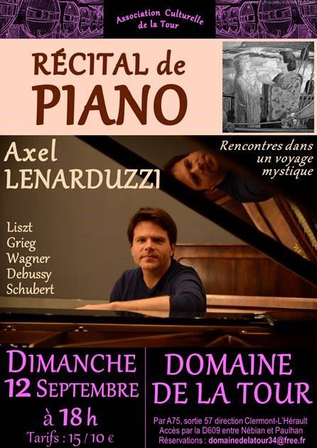 Récital de piano avec Axel LENARDUZZI le 12 septembre 2021 à 18h